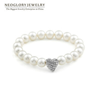 Neoglory Pearl Heart Bracelet Bangle Wrist Bands for Female Power Bracelets 2014 New Brand Gifts