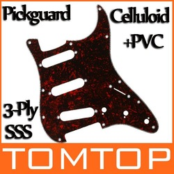Red Celluloid & PVC 3-Ply SSS ST Strat Electric Guitar Pickguard Scratch Plate I127R Freeshipping Dropshipping Wholesale(China (Mainland))