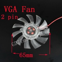 Free Shipping 100pcs/lot 12V 2pin 65mm Computer Graphics VGA Video Card Cooling  Fan