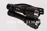 10pcs/lot  Waterproof 500 Lumen CREE Q5 LED Rechargable Flashlight LED Torch + 3.7V 3200mAh  Rechargable 18650  Battery