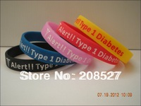 1PC Free Shipping Medical Alert - Type 1 Diabetes Insulin Dependent - Silicone Bracelet, Promotion Gift, Adult Size, 5Colours