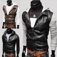 2014 autumn\winter new fashion long sleeve slim hoodies  Korean locomotive leather coats men's leisure jackets free shipping
