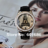 Woman Rhinestone Crystal Dress Quartz Watches Leather Jewelry Hours Eiffel Tower Watch Casual Wristwatches New Hours 2013