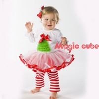 Christmas baby dress/ White long-sleeved ball gown/ Lovely tutu with pattern of Xmas tree and red bowknot