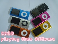 "playing time 30Hours 32GB 1.8"" 4th LCD MP3 Player FM Radio support VIDEO 9COLORS Free Shipping"