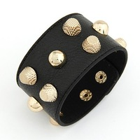 [Mix 15USD] 100%good Quality Punk Metal Studs Faux Leather Wristband Bangles Bracelet Cuffs