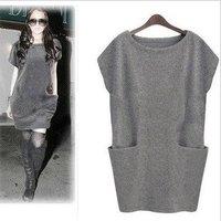women dress, Slim big pocket  design lady dress, plus size short sleeve fashion winter dress,euro style, free shipping, L0157