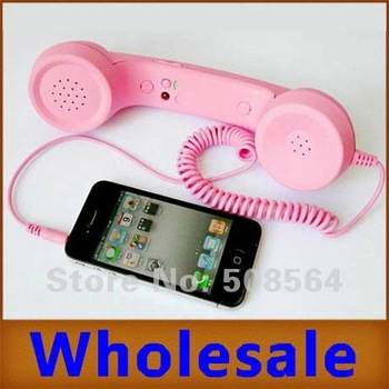 3pcs/lot Retro Telephone Style Mobile Phone Receiver for iphone 4/4s Adjustable Volume Anti-radiation
