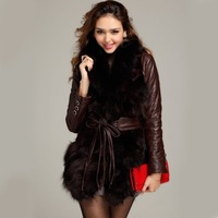 HOT*100% SHEEPSKINCOAT/ LEATHER JACKET/ FOX FUR COAT/FUR JACKET*EMS FREE SHIPPING, NO.SU-1257