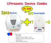 Free shipping 2pcs Electronic Bug Scare Plus 1pc Electronic Ultrasonic Pest Repeller