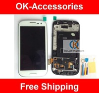 LCD +Touch screen digtizer with frame white color for Samsung GT-I9300 galaxy S3 i9300 1pcs/lot free shipping
