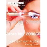 Free Shipping Stainless Steel LED Light woman lady make up beauty eyelash tweezers Eyebrow Tweezers