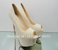 Women's shoes 2012 European fashion  waterproof Taiwan  gold dress shoes Free Shipping