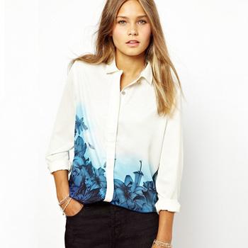 Новых женщин способа Элегантные длинным рукавом нагрудные Рубашки Голубой цветок ...