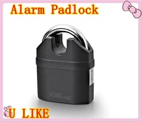EMS is china post free shippment 110dB siren 2pcs alarm lock for door and bicycle alarm padlock electroplate alarm lock