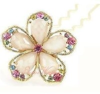 Free shipping, Fashion gorgeous rhinestone flower hair stick, Elegant girl's decoration, New arrival