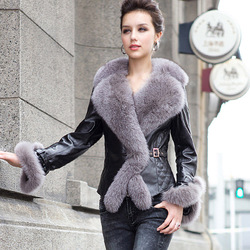Real sheep leather coat jacket fox fur collar and trim overcoat ladies' garment 4 colors(China (Mainland))