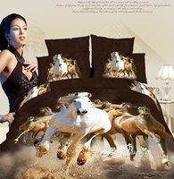 3D white horse bedding set queen size 4pcs Luxury oil painting comforter/duvet cover Animal bed sheet bedclothes set cotton