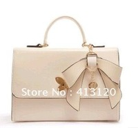 NEW ARRIVAL Sweet Women Zipper Hasp Solid Body Bowknot Butterfly  Shoulderbag Handbag Evening Bag Party Bag