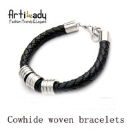 Artilady fashion charm woven  bracelet  or stainless steel diy bracelets  for men  jewelry free shipping
