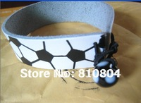 2013 fast and cheap footbll colleage free shipping  white real leather football seam bracelet length adjustable/wholesale