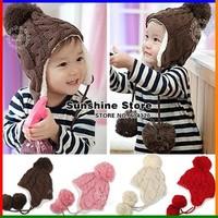 Thicken baby newborn hat,big ball bebe beanies,Toddler Girl's fleece ear protection winter baby cap #2C2593  5 pcs/lot(5 colors)