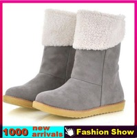 Big Size 34-43  New arrival fashion winter warm flat heels solid snow boots ladies boots 7 colors HB122