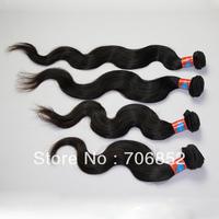 Free shipping DHL virgin peruvian hair weft remy natural black extension body wavy mix lengths 14 16 18 20 22 24 26 28 4pcs/lot