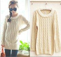 Long knitted women cotton sweater beaded warm oversized winter sweaters women 2014