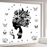 Free shipping Mixed ordered bloom pretty matron Buttefly wall sticker 70*50CM