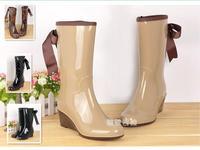 New 2014 Lady's Women Rain Boots Bowknot Platform Women's Rubber Boots Waterproof Botas Sapatos Shoes Rainboots Galocha