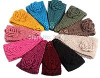 2014  Europe style autumn and winter yarn handmade knitted  flower wide headband warm hat pretty hairbands