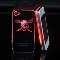 Pirate LED Flash Lights Crystal Hard Shell Case Cover Protect For iPhone 4 4s