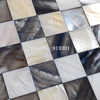 Mother of Pearl Tiles Kitchen Backsplash tile Black White Shell Mosaics discount square Bathroom Walls floor fireplace tiles