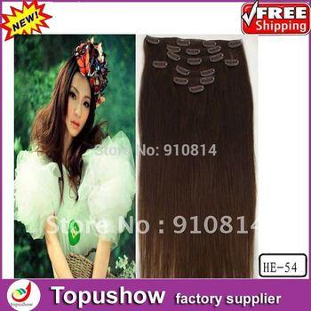 "Free Shipping! 24# Medium Brown 100g 20"" 8pcs/set 100% Queen Brazilian Virgin Human Hair Straight Hair Extension Supplier HE-54"