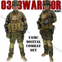 NEW! USMC COMBAT SETS TACTICAL COMBAT UNIFORM + HELMET + GOGGLES + MASK + BOOTS + VEST + KNEE ELBOW PADS + BELT + GLOVES