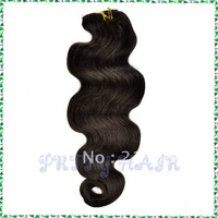 "20"" 8pcs 17clips, Brazilian Remy Human Hair  Body Wave, Clip in  Hair Extensions  Color#2,7398"