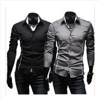 Men's Shirts Korean Fashion Stylish Casual Trim Slim Fit Long Sleeve  Dress Shirt  free shipping
