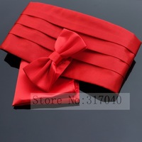Male formal dress cummerbund+ bow tie+ hankie sets  5-color black/white/red/wine/silver-opp bag packing