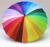 Wholesale 20pcs/lot  Sun/Rain Stick Rainbow Umbrella Beautiful colorful Straight Auto Umbrella 24Colors+24 ribs New