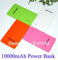 20pcs/lot 10000mAh Super Slim Dual USB Mobile Phone Power Bank External Battery For Galaxy S3 S4 iPhone iPad HTC