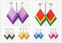 Free Shipping-European Hot Sale Mix Color Wooden Earrings Wholesale 2012 Fashion Handmade Wooden Winding Earrings WE044