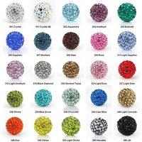 Cheap! free shipping 1000pcs/lot 10mm Mixed Color 25 color Micro Pave CZ Disco Ball Bead, Shamballa Bracelet bead