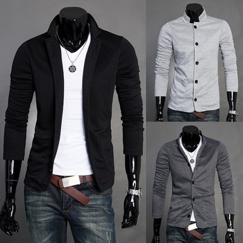 KS003 Fashion Style Men's Mandarin Collar Casual Knitwear Blazer 4 Sizes 3 Colors Free Shipping