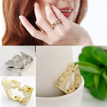 [Mix 15USD] Fashion Silver / Gold plated Sweet Simple square three-dimensional Heart Love Ring women jewelry