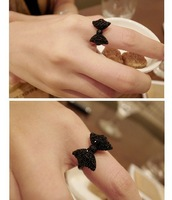 [Mix 15USD] Fashion Lovely Black Rhinestone Crystal Bowknot Bow Tie Adjustable Ring