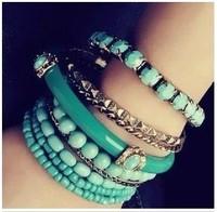 [Mix 15USD]Bohemian Romatic Fashion Strings of  Beads Bracelet Set Multi-layers blue Bangle 9pcs Multilayer