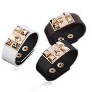 [Mix 15USD] Fashion Jeruk Punk Style Bracelet  Leather Men Women Punk Fashion Belt Bangle Cuff Wristband
