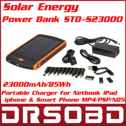 23000mAh/85Wh Solar energy Power Bank STD-S23000 Portable Charger for Netbook iPad Galaxy tab iphone Moblie Phone MP4/PSP/NDS(China (Mainland))