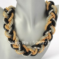Min order $10 Fashion Jewelry Golden Black Silver Chain Braid Adorned Pendant Necklace